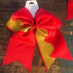 NWT Holiday Red and Gold Ponytail Bow